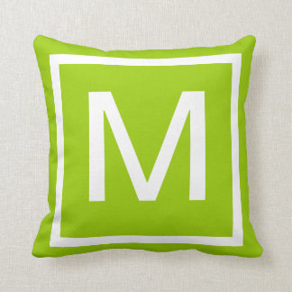 MONOGRAM solid lime green pillow