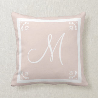 MONOGRAM solid pale pink personalized custom Throw Pillow