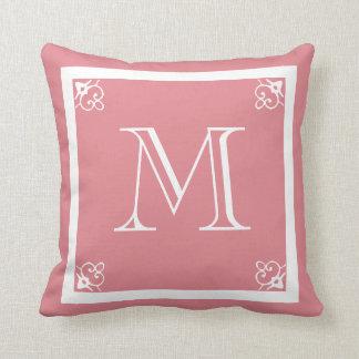 MONOGRAM solid pink rose blue custom Throw Pillow