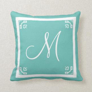 MONOGRAM solid powder blue personalized custom Throw Pillow