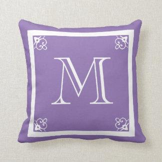 MONOGRAM solid purple custom Throw Pillow