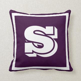 MONOGRAM Solid Purple Soft Dark Grape plain pillow