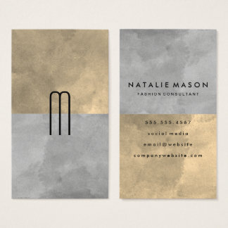 Monogram Sophisticated Sepia Gray Color Blocks Business Card