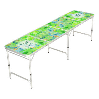 Monogram Spring Forest Abstract Watercolor Collage Beer Pong Table