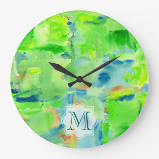 Monogram Spring Forest Abstract Watercolor Collage Large Clock