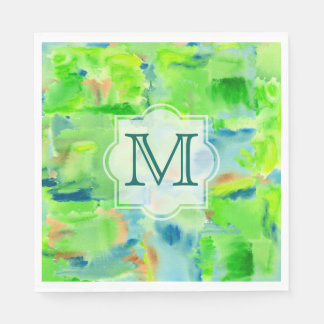 Monogram Spring Forest Abstract Watercolor Collage Paper Napkin