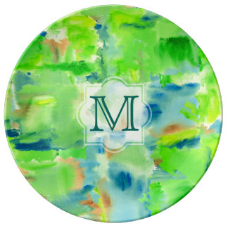 Monogram Spring Forest Abstract Watercolor Collage Plate