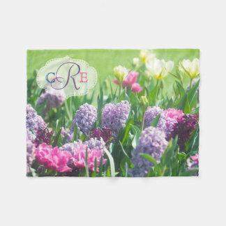 Monogram Spring Garden Beautiful Tulips Hyacinth Fleece Blanket