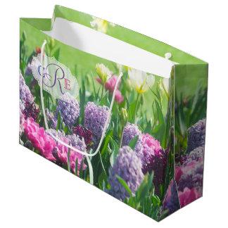 Monogram Spring Garden Beautiful Tulips Hyacinth Large Gift Bag