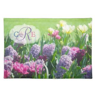 Monogram Spring Garden Beautiful Tulips Hyacinth Placemat