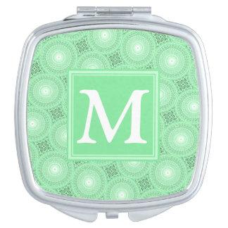 Monogram spring green circles pattern compact mirror
