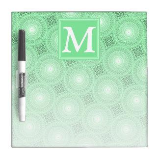 Monogram spring green circles pattern dry erase board