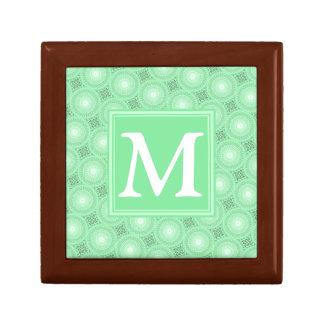 Monogram spring green circles pattern gift box