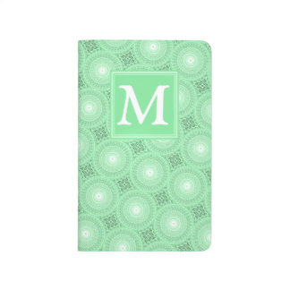 Monogram spring green circles pattern journal