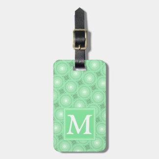 Monogram spring green circles pattern luggage tag