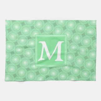 Monogram spring green circles pattern tea towel
