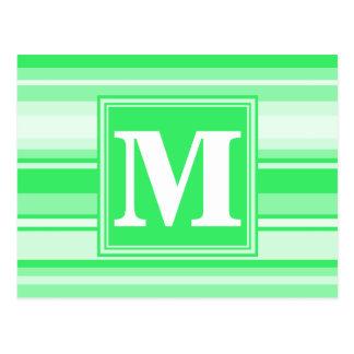 Monogram spring green stripes postcard