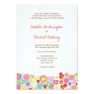Monogram Spring Summer Flowers Wedding Invitation