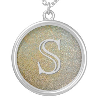 Monogram Stamped Gold Silver Look Personalized Round Pendant Necklace