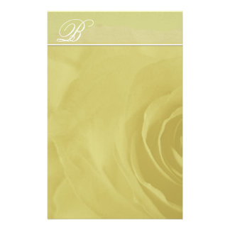 Monogram Stationery Faded Rose On Lime Green