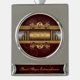 Monogram Steampunk Art Deco fusion, brass, maroon Silver Plated Banner Ornament