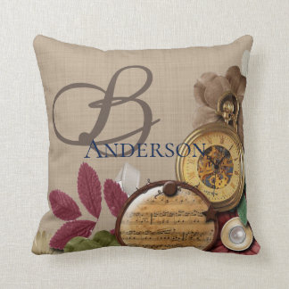 Monogram Steampunk Clock and Flowers Cushion