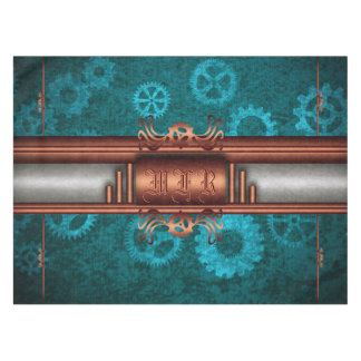 Monogram, Steampunk Deco fusion, copper and teal Tablecloth