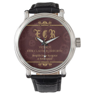 Monogram Steampunked Deco, brass and maroon Wristwatch