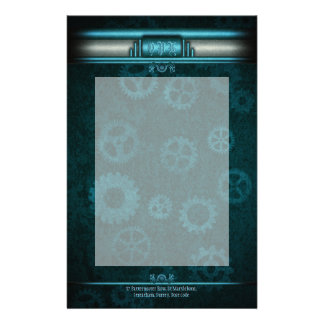 Monogram, Steampunked Deco on ice-blue and teal Stationery