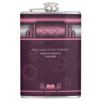 Monogram Steampunked Deco, pink metallic heart Hip Flask