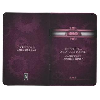 Monogram Steampunked Deco, pink metallic heart Journals