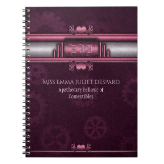 Monogram Steampunked Deco, pink metallic heart Notebook
