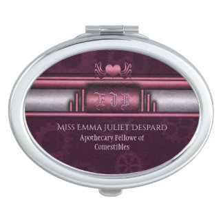 Monogram Steampunked Deco, pink metallic heart Vanity Mirror