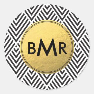 Monogram Sticker Chevron Argyle with Gold