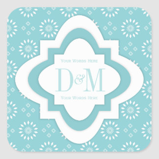 Monogram Stickers In Paradise Blue And White 2