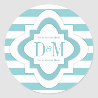 Monogram Stickers In Paradise Blue & White Stripes