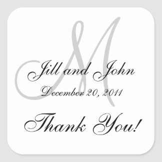 Monogram Stickers Square for Weddings Thank You