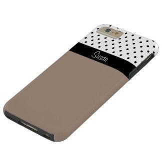 Monogram Straw Brown, Black White Dots Color Block Tough iPhone 6 Plus Case