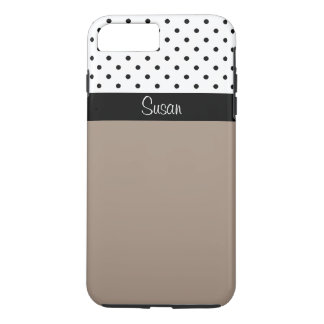 Monogram Straw Brown, Black White Dots Color Block iPhone 8 Plus/7 Plus Case