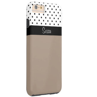 Monogram Straw Brown, Black White Dots Color Block Tough iPhone 6 Plus Case