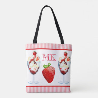 Monogram Strawberry Ice Cream Sundae Pink Stripes Tote Bag