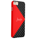 Monogram Strawberry Red & Black Dots Colour Block Barely There iPhone 6 Plus Case