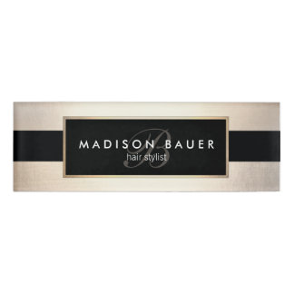 Monogram Striped Black and FAUX Gold Foil Name Tag