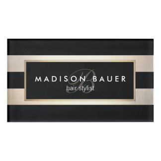 Monogram Striped Black Gold Beauty Salon Name Tag
