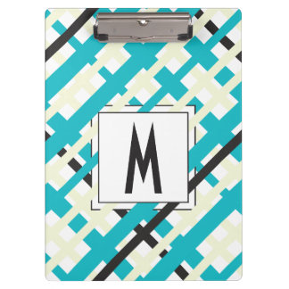 Monogram Striped Blue Green Clipboard