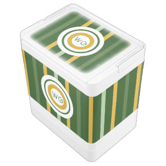 Monogram Striped Green N Gold Igloo Drink Cooler Igloo Cool Box