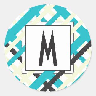 Monogram Striped Pattern Round Sticker