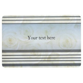 Monogram Striped  White Roses Floor Mat