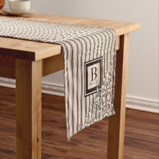 Monogram Stripes Damask Feminine Girly Pretty Short Table Runner