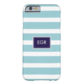 Monogram Stripes iPhone 6 case (Aqua/Navy)
